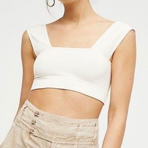 New Free People Square ivory crop top bra xs/s